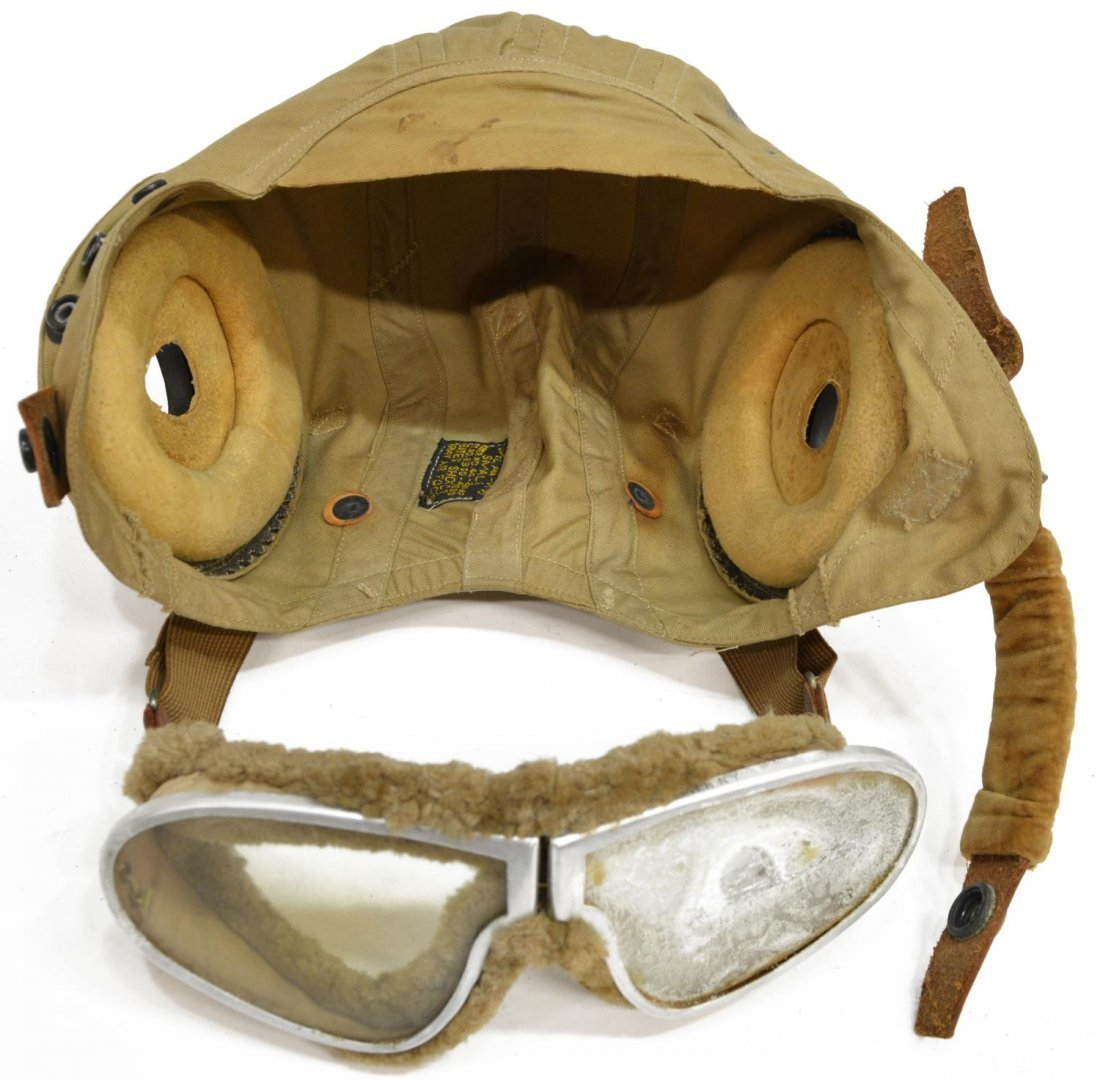 (4)MILITARY FLIGHT ITEMS WWII CLOTH HELMET GOGGLES - 9