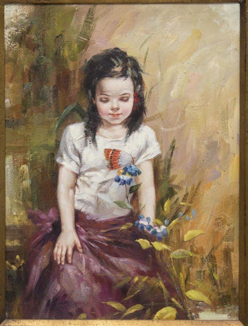 (2) FRAMED OIL PAINTINGS OF CHILDREN, B. FRANK - 2