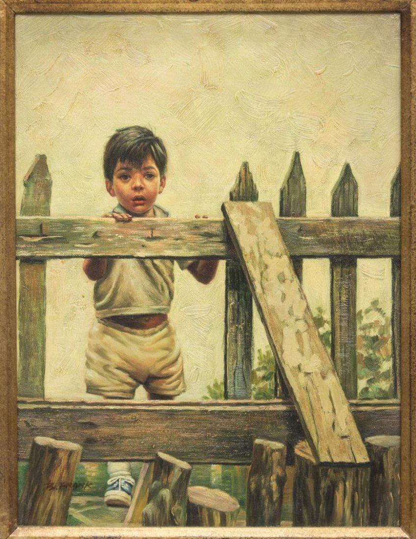 (2) FRAMED OIL PAINTINGS OF CHILDREN, B. FRANK - 5
