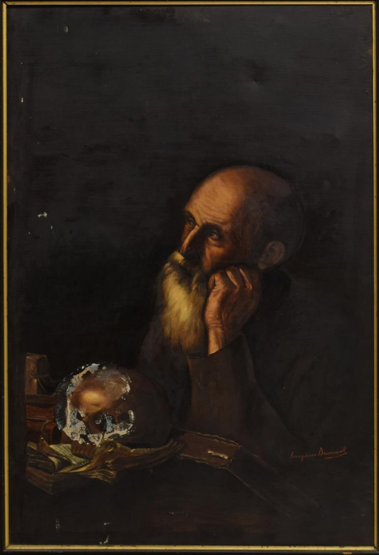FRAMED OIL PAINTING OF ST. JEROME, SIGNED BRUNSVIK