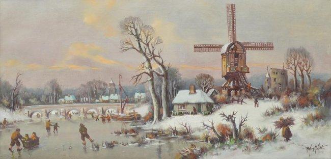 ANTON MULLER(1874-1912), DUTCH ICE SKATING