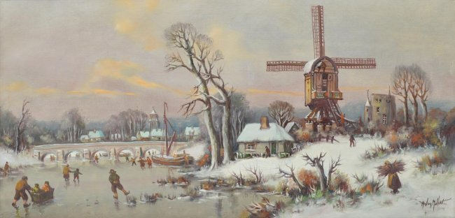 ANTON MULLER(1874-1912), DUTCH ICE SKATING