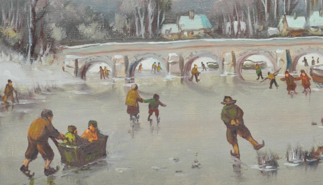 ANTON MULLER(1874-1912), DUTCH ICE SKATING - 4