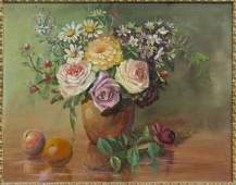 (2) FRAMED OIL ON MASONITE FLORALS BY F. CLOONAN
