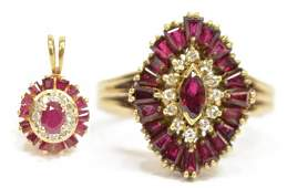 2 LADIES 14KT GOLD DIAMOND  RUBY JEWELRY