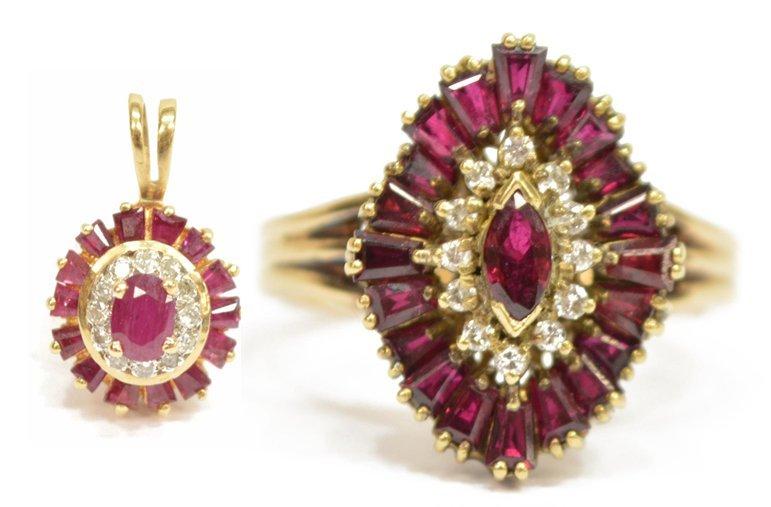 (2) LADIES 14KT GOLD DIAMOND & RUBY JEWELRY