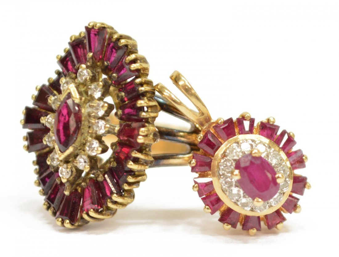 (2) LADIES 14KT GOLD DIAMOND & RUBY JEWELRY - 2