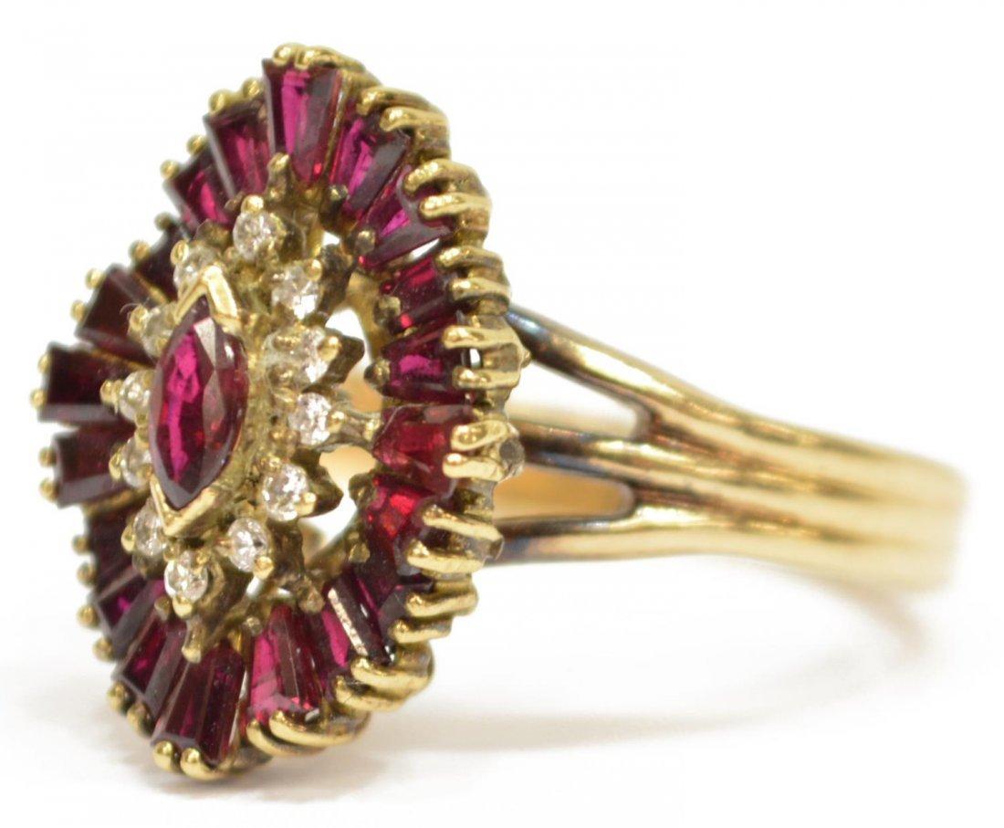 (2) LADIES 14KT GOLD DIAMOND & RUBY JEWELRY - 3