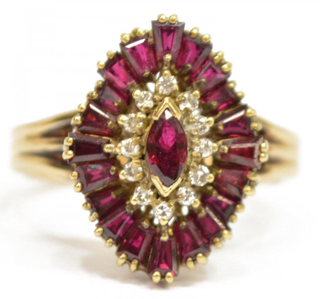(2) LADIES 14KT GOLD DIAMOND & RUBY JEWELRY - 4