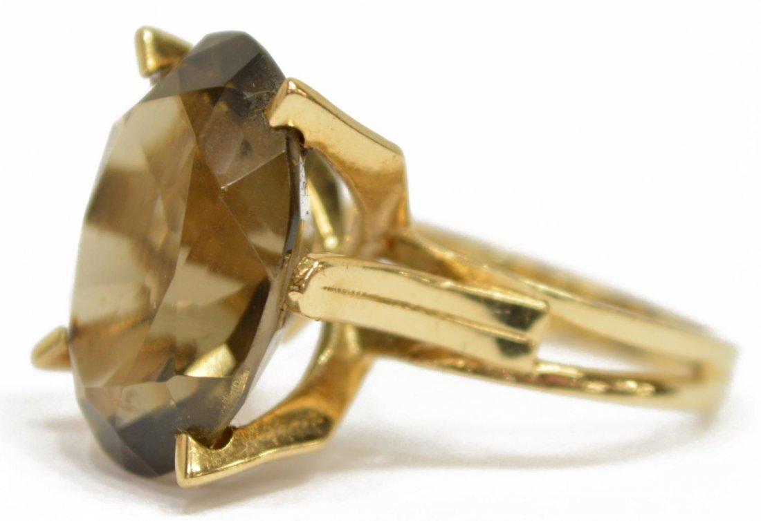 LADIES ESTATE 14KT GOLD SMOKY QUARTZ COCKTAIL RING