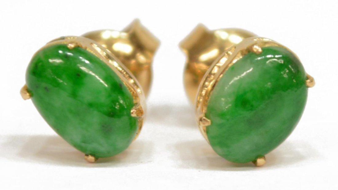 (4) LADIES ESTATE 14K GOLD & JADE PIERCED EARRINGS - 2