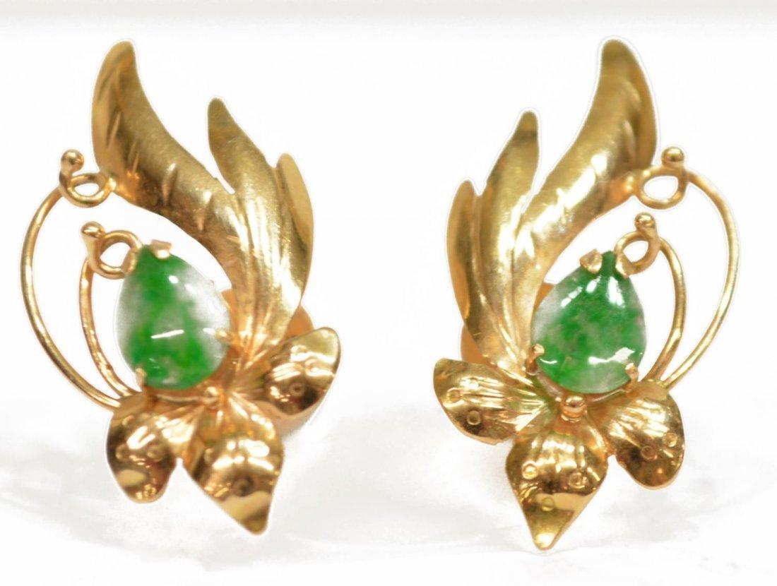 (4) LADIES ESTATE 14K GOLD & JADE PIERCED EARRINGS - 3