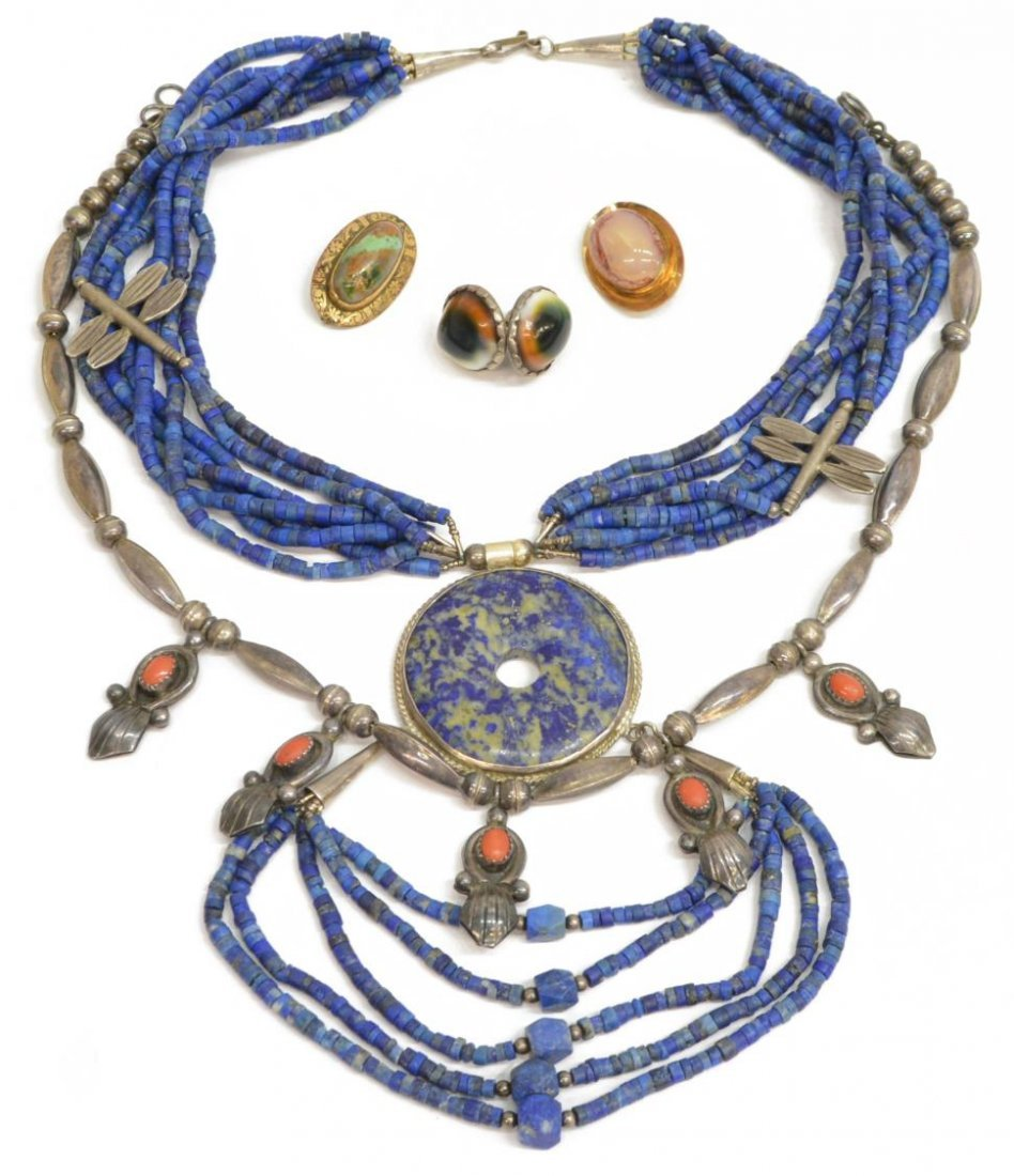 6) LADIES ESTATE STERLING & STONE SOUTWEST JEWELRY