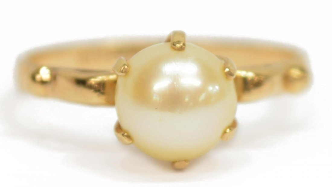 (3) LADIES ESTATE 14KT PEARL EARRINGS & RING - 3