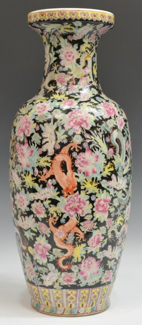 CHINESE FAMILLE NOIR DRAGON AND PEONY MOTIF VASE