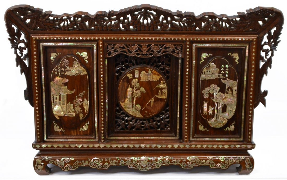 CHINESE ROSEWOOD MOTHER-OF-PEARL INLAID CABINET