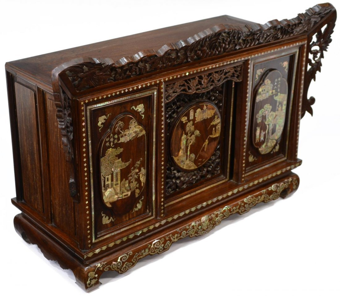 CHINESE ROSEWOOD MOTHER-OF-PEARL INLAID CABINET - 3