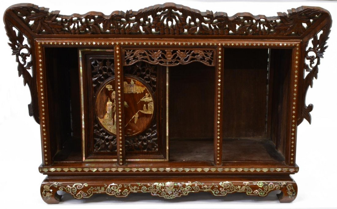 CHINESE ROSEWOOD MOTHER-OF-PEARL INLAID CABINET - 4