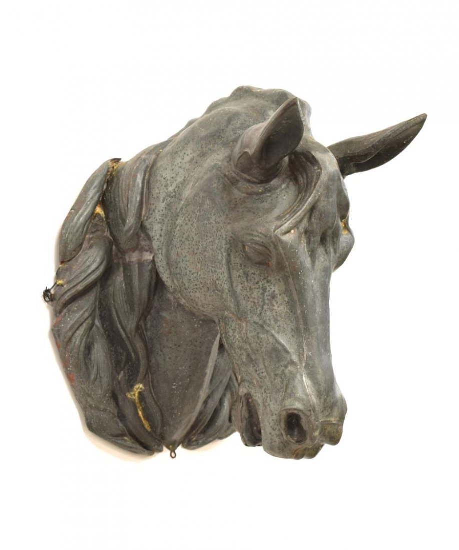 ANTIQUE FRENCH ZINC HORSE HEAD TRADE SIGN - 2