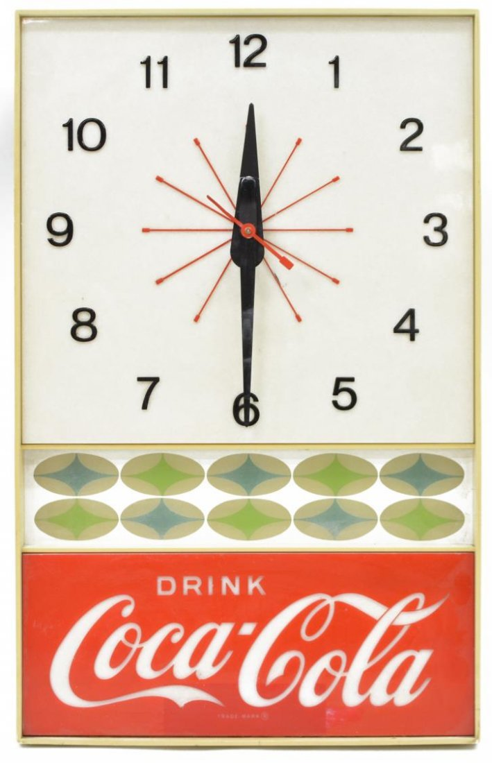 COCA COLA ADVERTISING WALL CLOCK, OPERATES