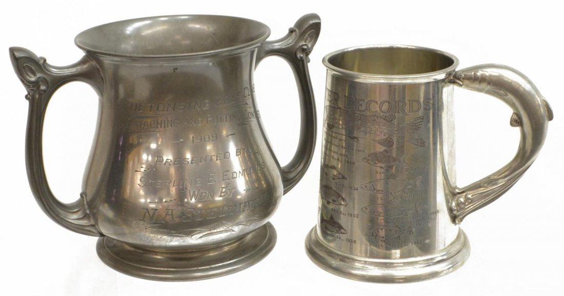 (2) 1909 MICHIGAN GOLF TROPHY & BRITISH FISH MUG