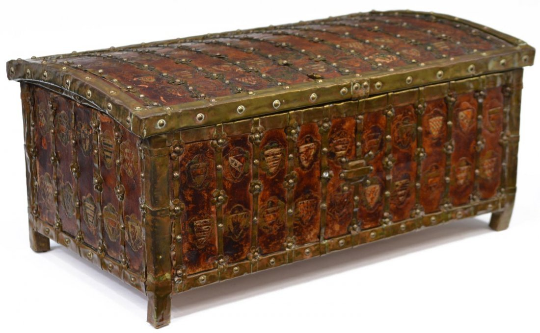 ANTIQUE FRENCH HERALDIC LEATHER & METAL TABLE BOX