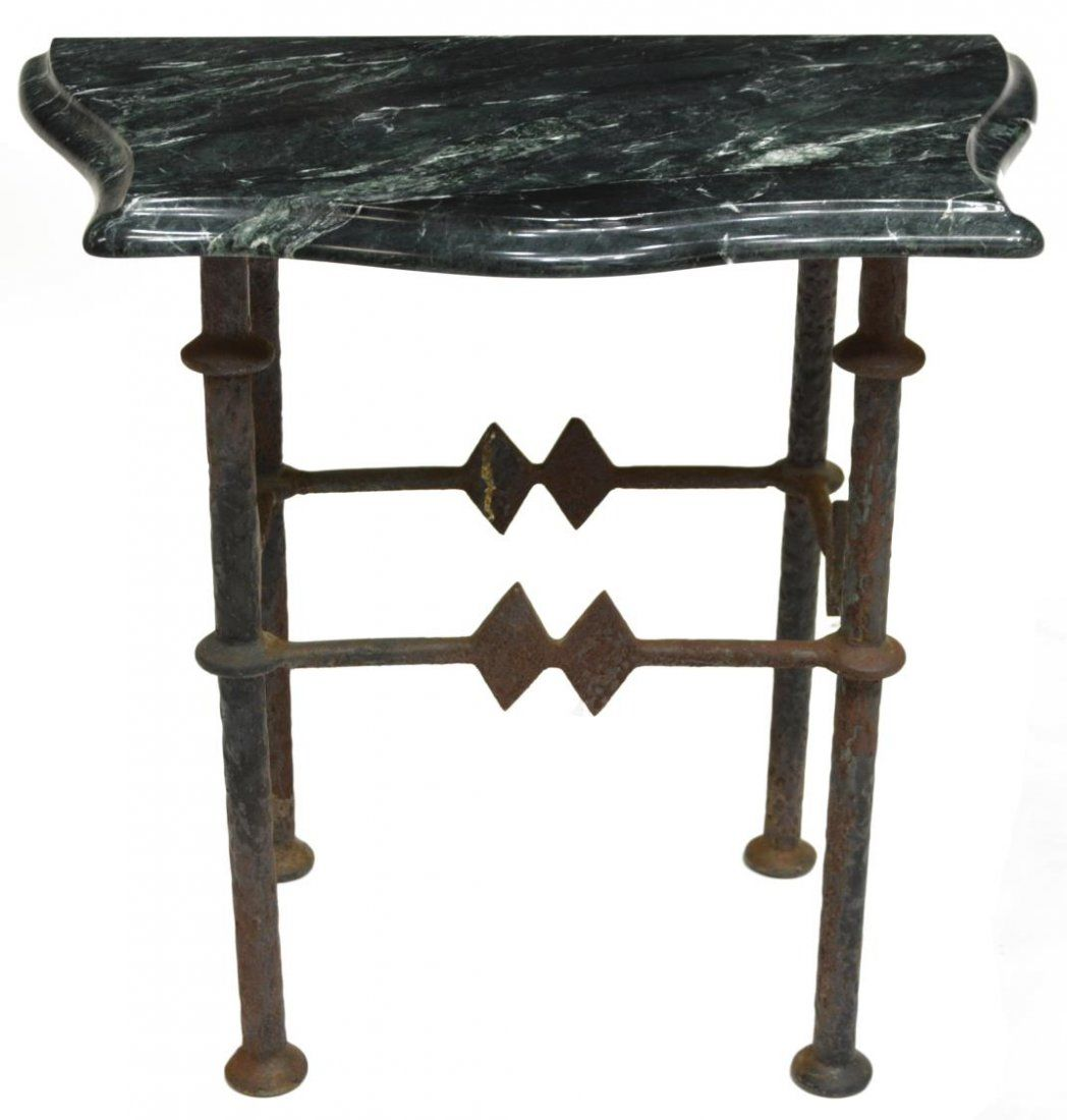 VARIEGATED 'TAIWAN' GREEN MARBLE TOP SIDE TABLE