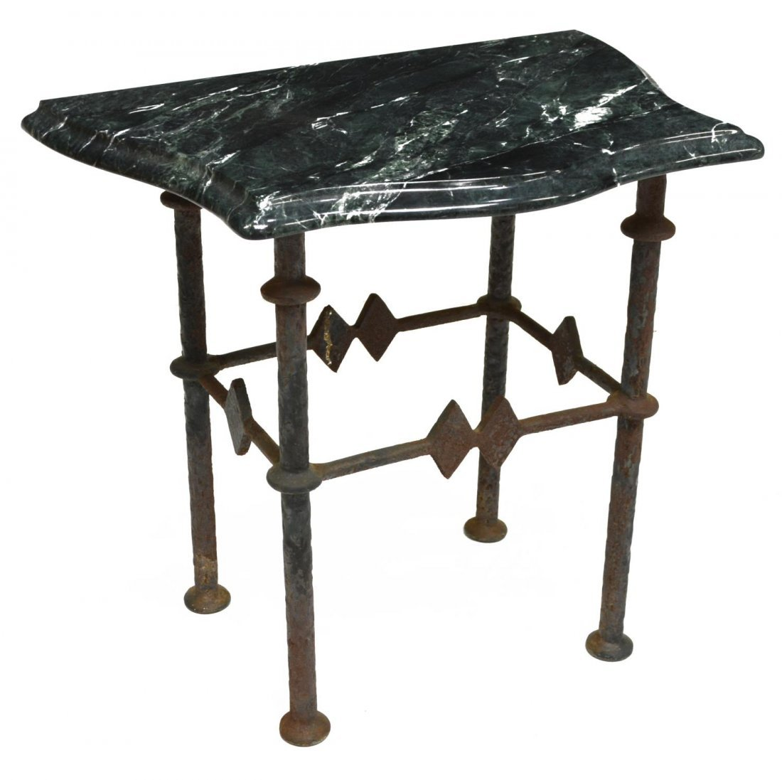 VARIEGATED 'TAIWAN' GREEN MARBLE TOP SIDE TABLE - 2