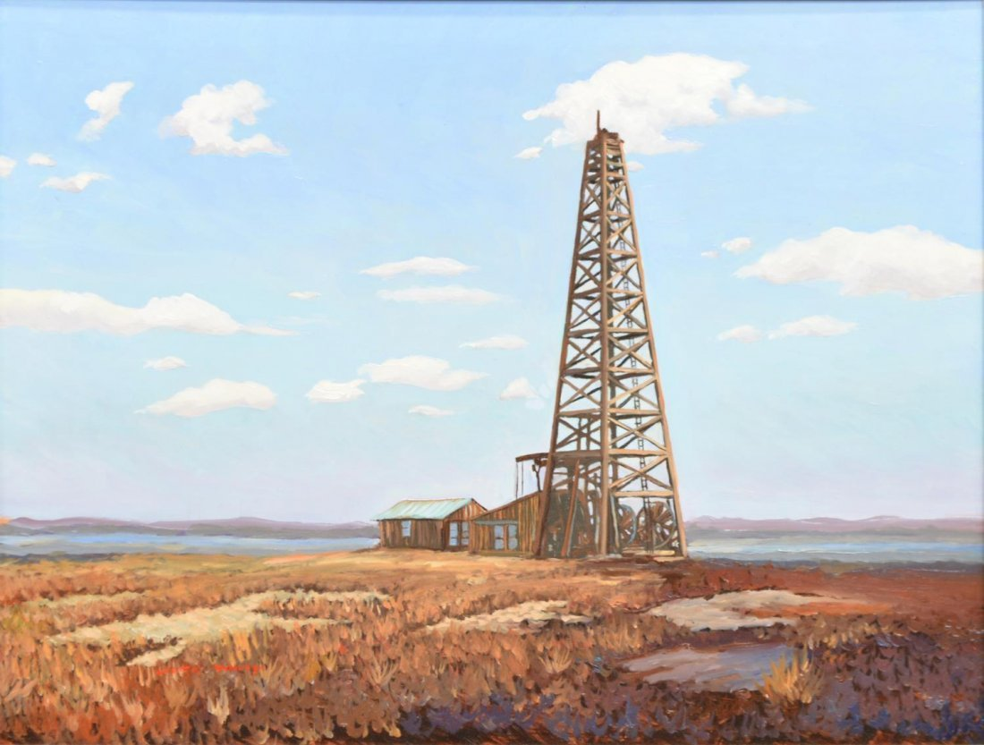 (2)JACK WHITE (TEXAS, B. 1933), OIL WELL PAINTINGS - 2