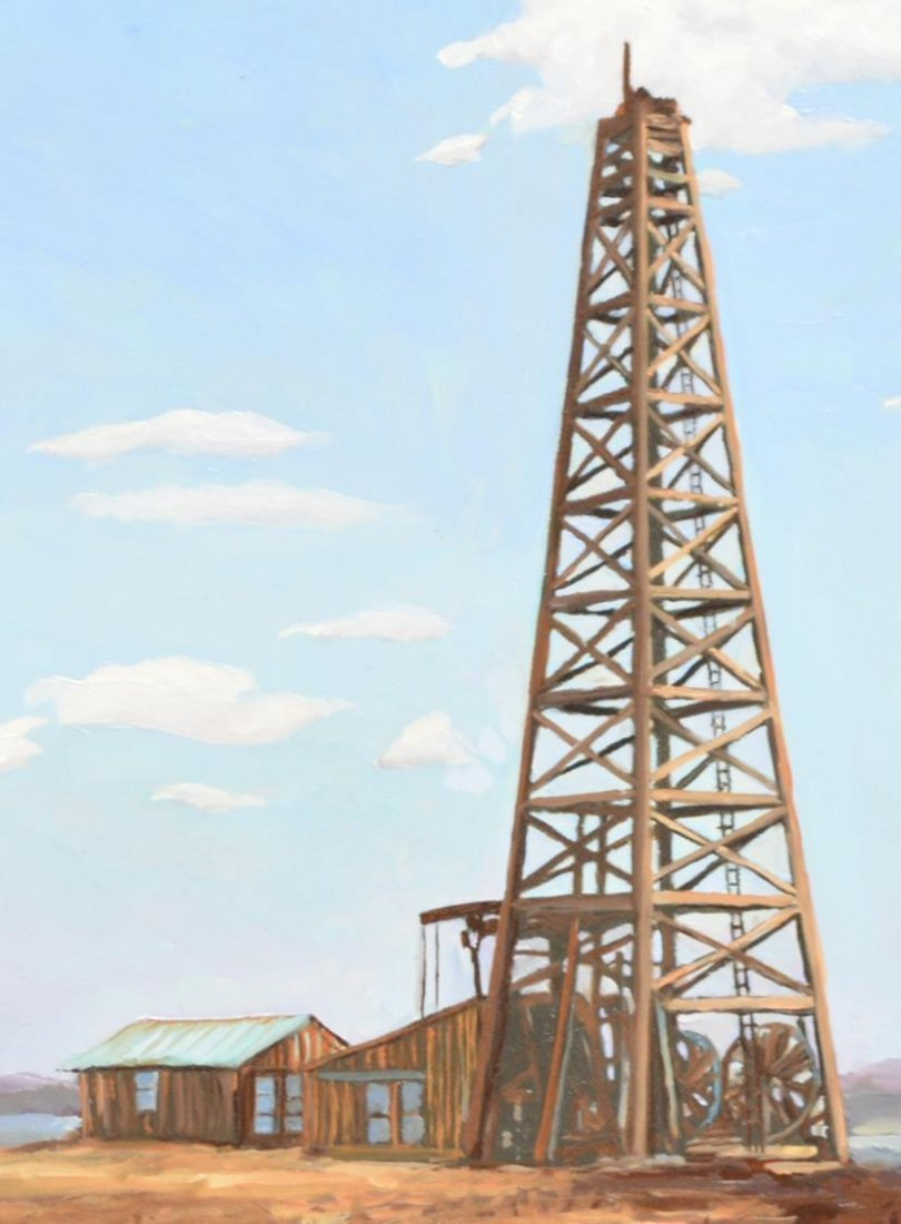 (2)JACK WHITE (TEXAS, B. 1933), OIL WELL PAINTINGS - 3