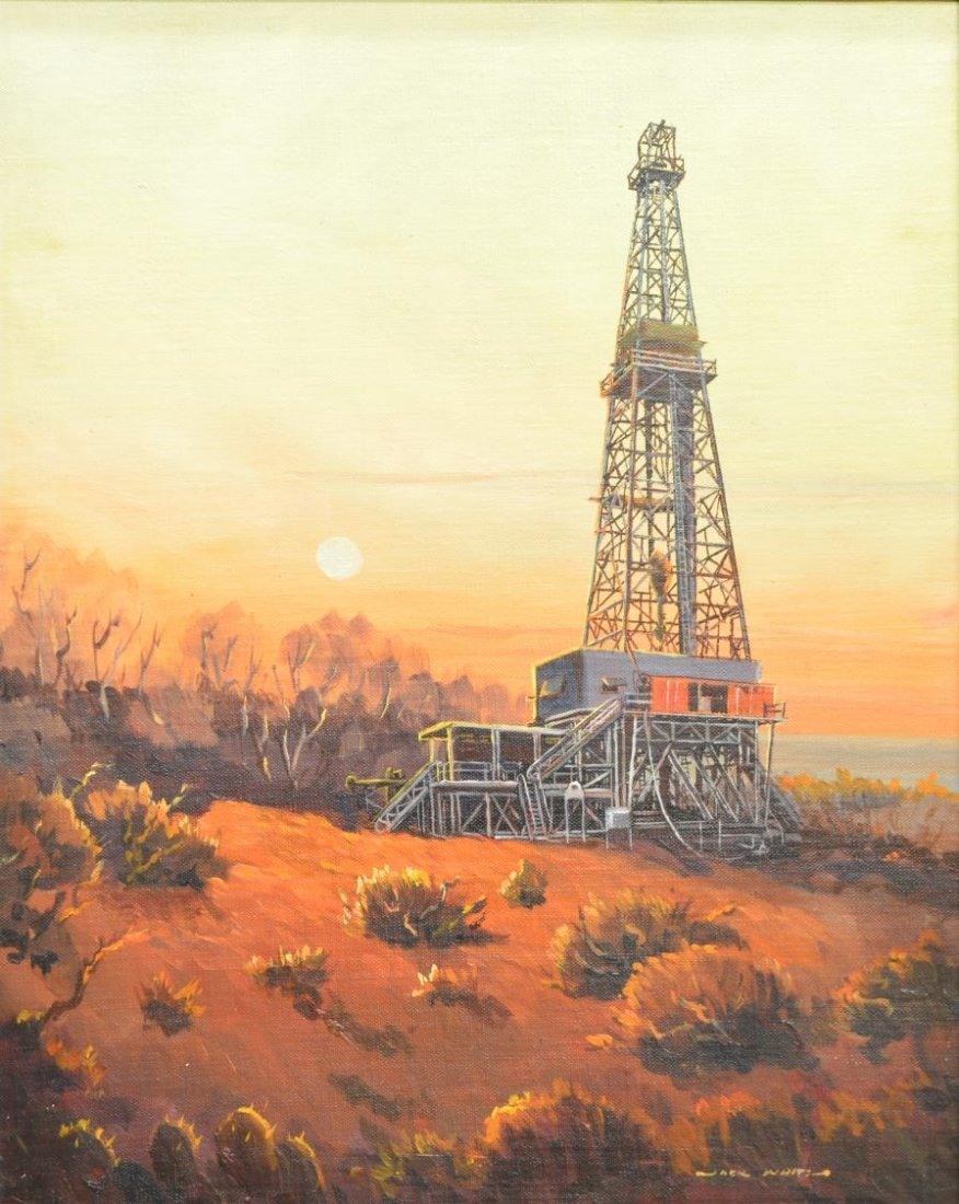 (2)JACK WHITE (TEXAS, B. 1933), OIL WELL PAINTINGS - 4