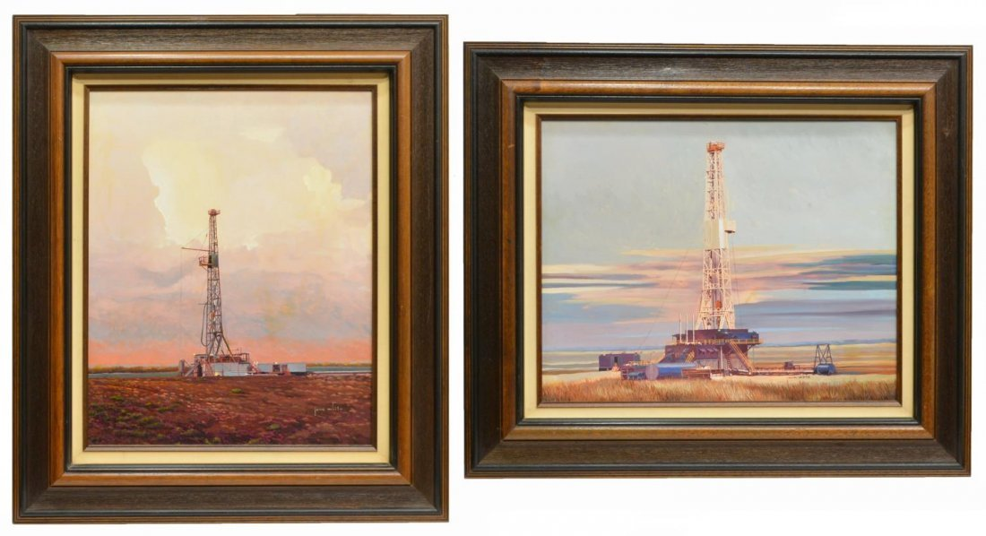 (2)JACK WHITE (TEXAS, B. 1933), OIL WELL PAINTINGS