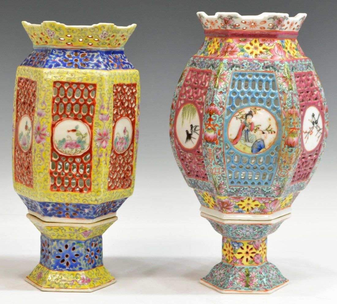 (2) VINTAGE CHINESE RETICULATED PORCELAIN LANTERNS