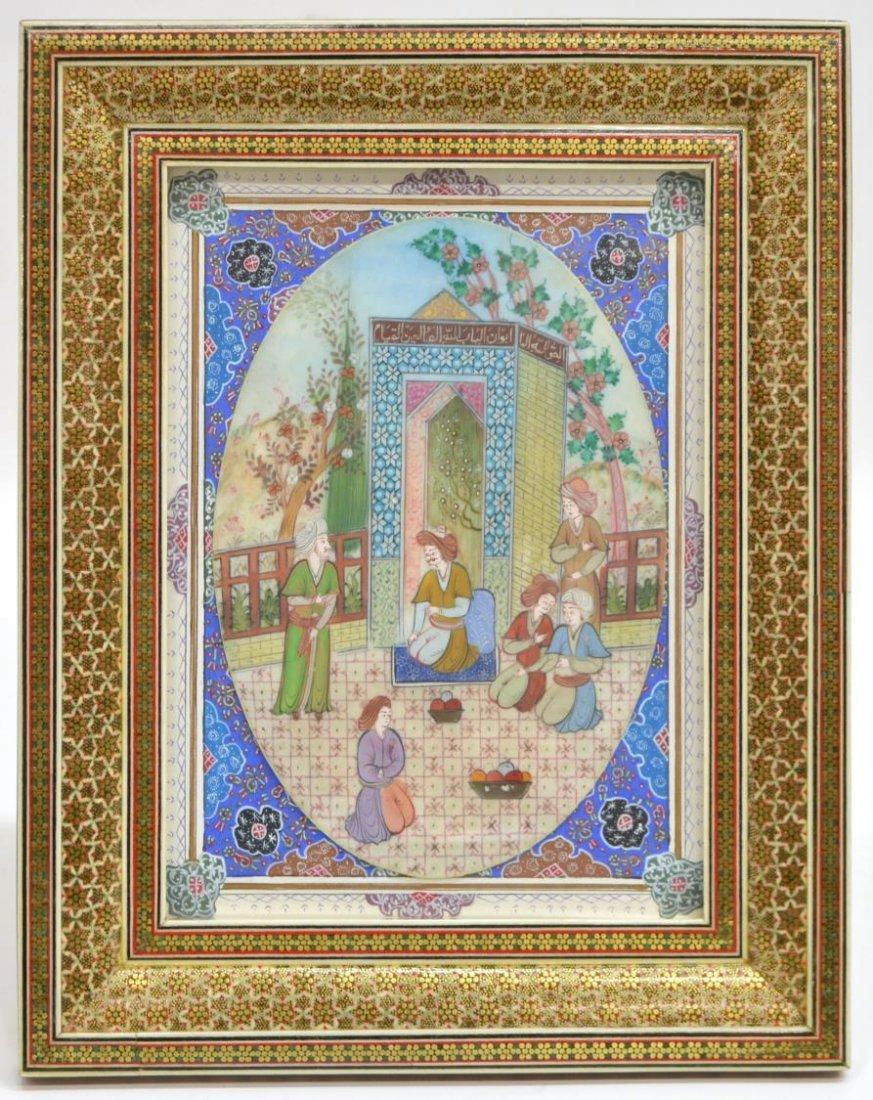 ARABESQUE INLAID FRAMED PERSIAN PAINTING ON BONE