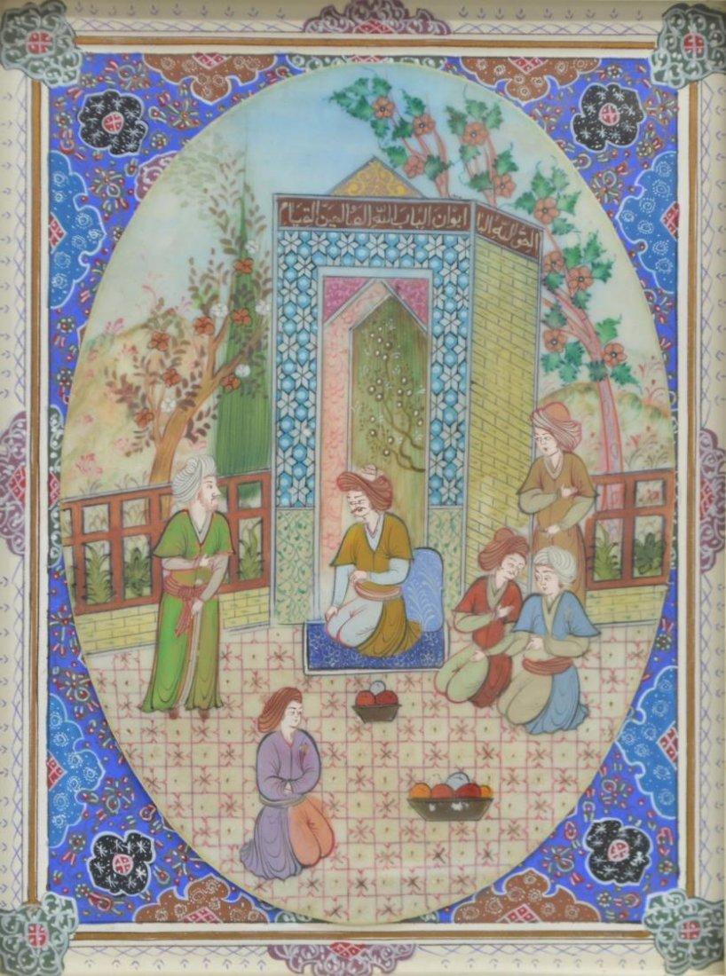 ARABESQUE INLAID FRAMED PERSIAN PAINTING ON BONE - 2