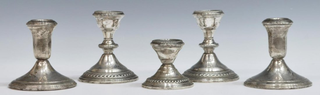 (5) WEIGHTED STERLING SILVER SHORT CANDLESTICKS