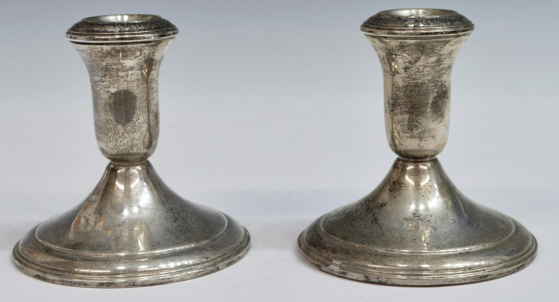 (5) WEIGHTED STERLING SILVER SHORT CANDLESTICKS - 4
