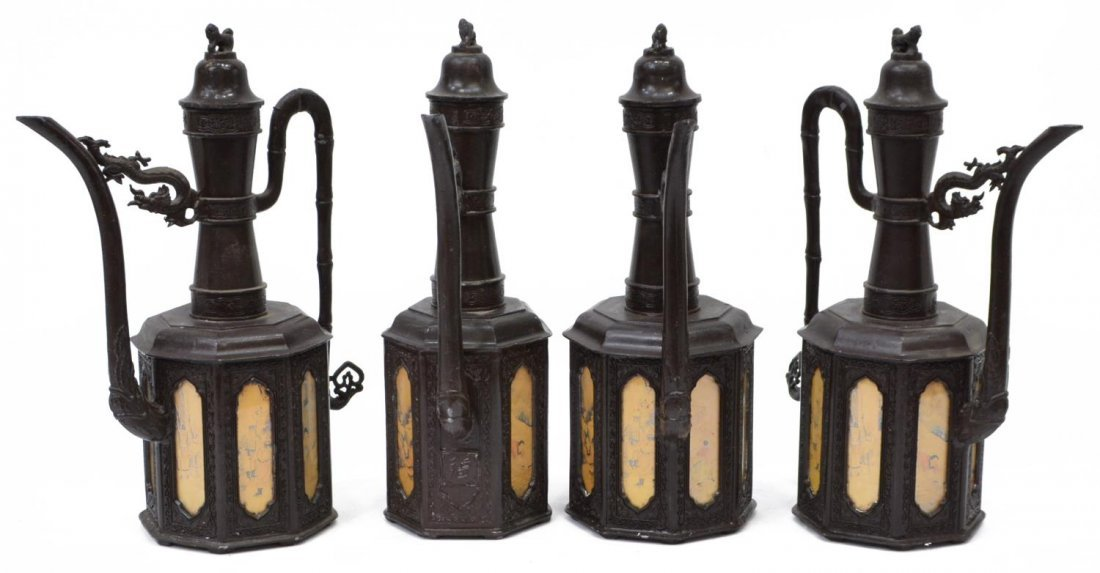 (4) ASIAN DECORATIVE BRONZE LIDDED PITCHERS 20thC