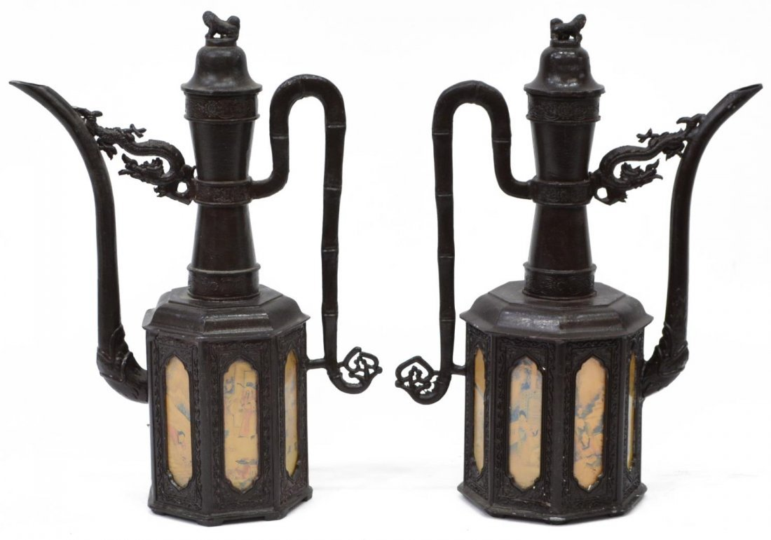 (4) ASIAN DECORATIVE BRONZE LIDDED PITCHERS 20thC - 2