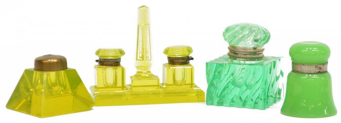 (4) ANTIQUE / VINTAGE VASELINE GLASS INKWELLS
