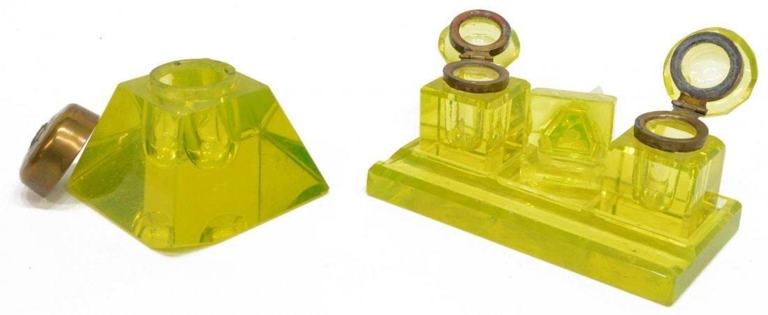 (4) ANTIQUE / VINTAGE VASELINE GLASS INKWELLS - 2