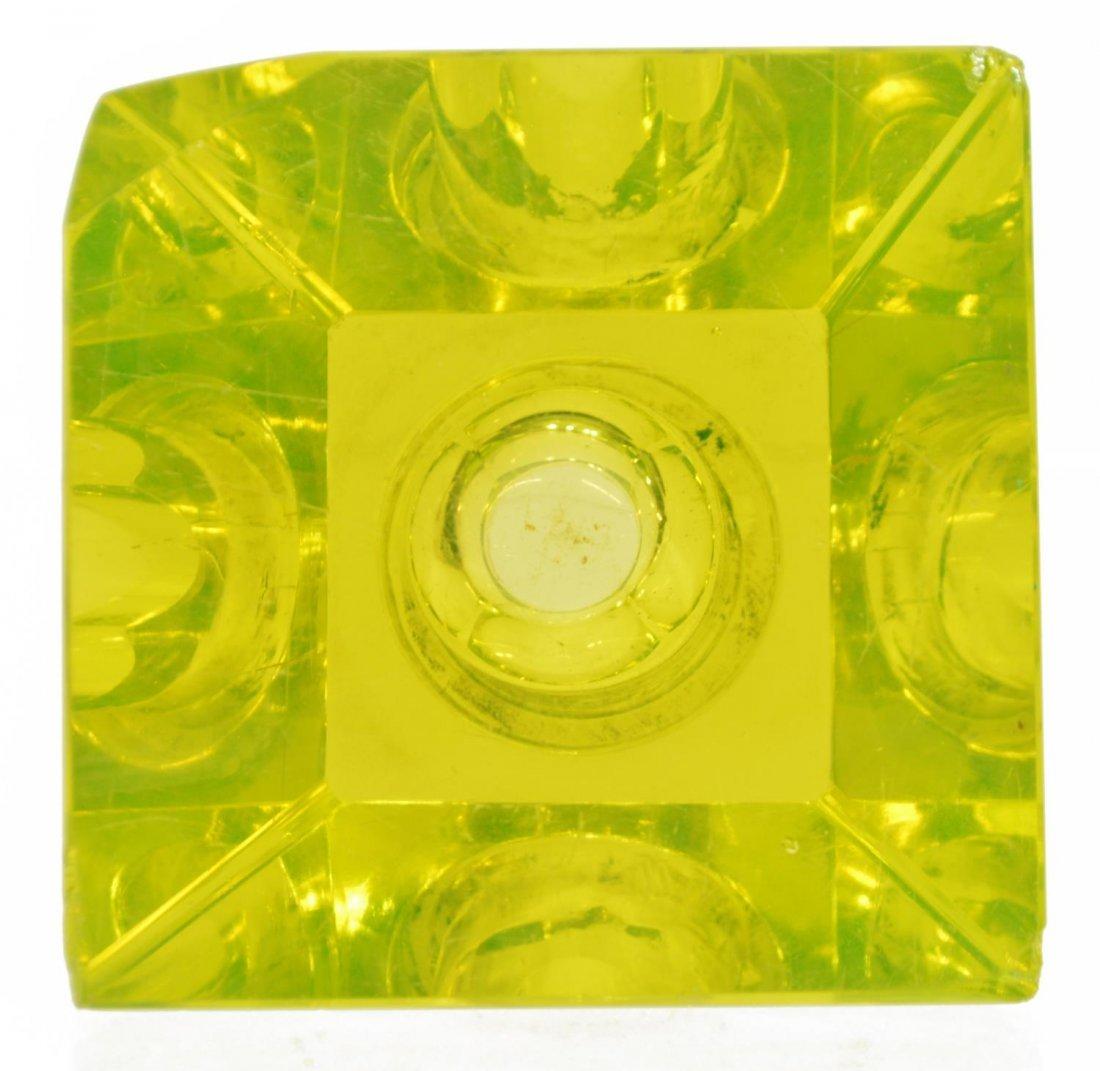 (4) ANTIQUE / VINTAGE VASELINE GLASS INKWELLS - 3