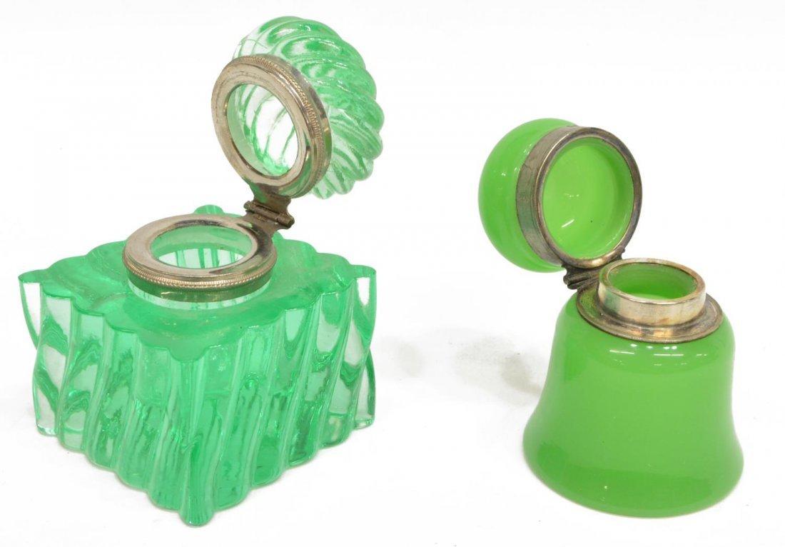 (4) ANTIQUE / VINTAGE VASELINE GLASS INKWELLS - 4
