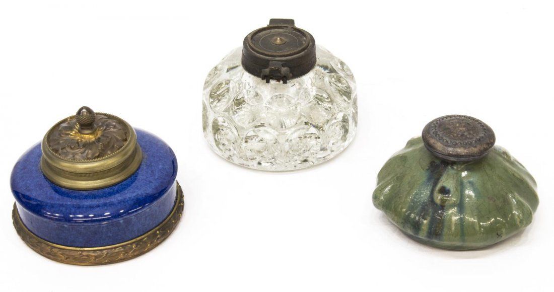 (3) ANTIQUE INKWELLS, BLACK POTTERY, SEVRES, GLASS
