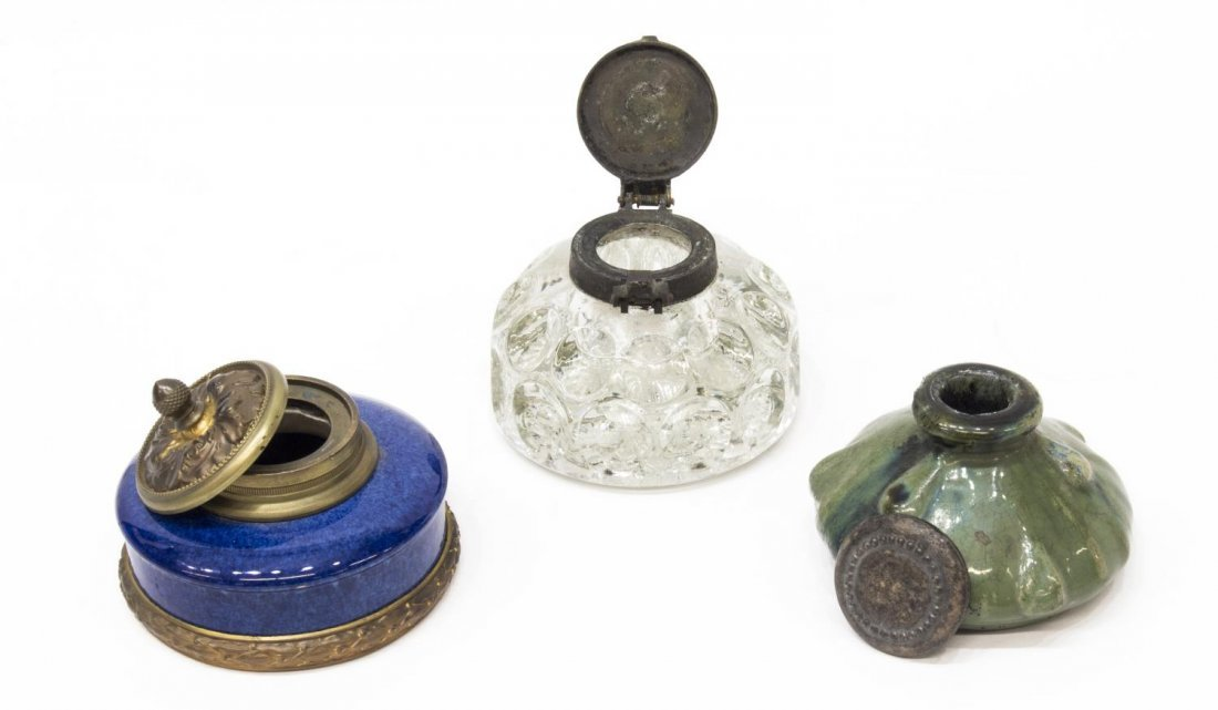 (3) ANTIQUE INKWELLS, BLACK POTTERY, SEVRES, GLASS - 2