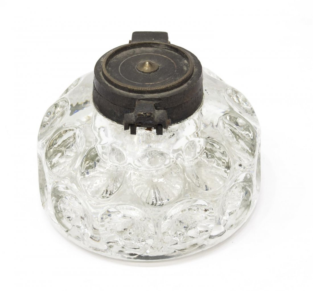(3) ANTIQUE INKWELLS, BLACK POTTERY, SEVRES, GLASS - 5