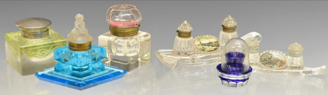 (7) COLLECTION OF ANTIQUE ART GLASS INKWELLS