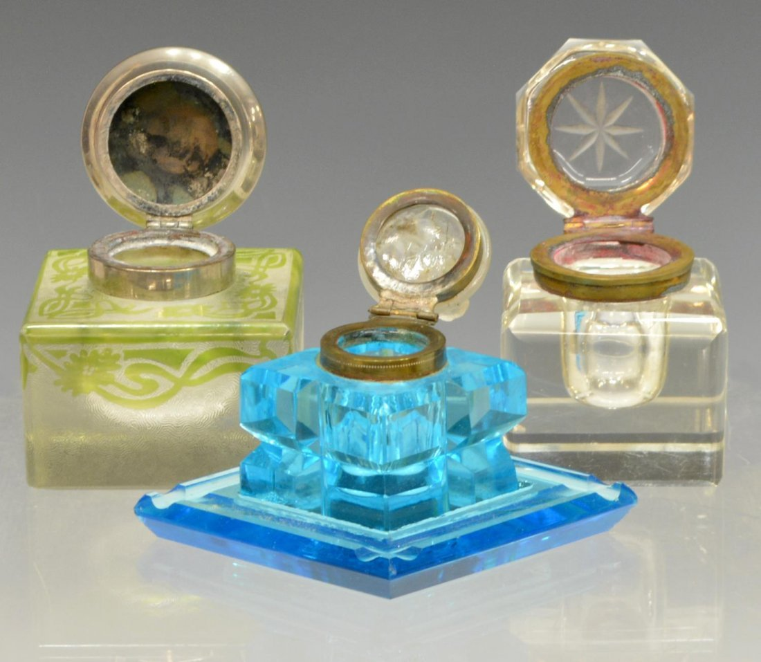 (7) COLLECTION OF ANTIQUE ART GLASS INKWELLS - 2
