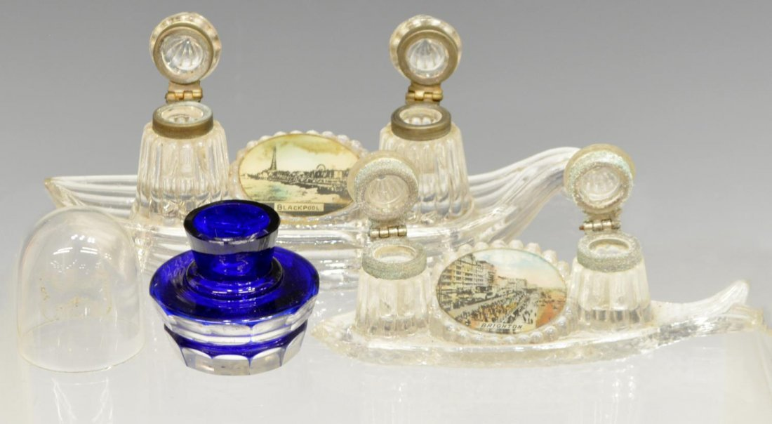 (7) COLLECTION OF ANTIQUE ART GLASS INKWELLS - 3