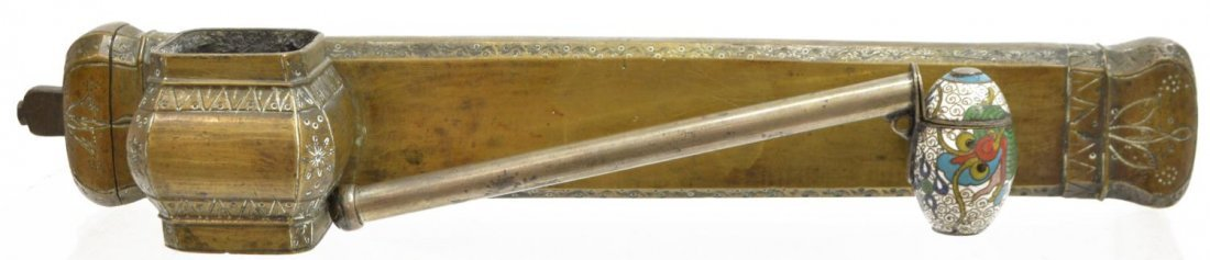 (2) TRAVELLING BRASS & CLOISONNE QUILL & INKWELLS